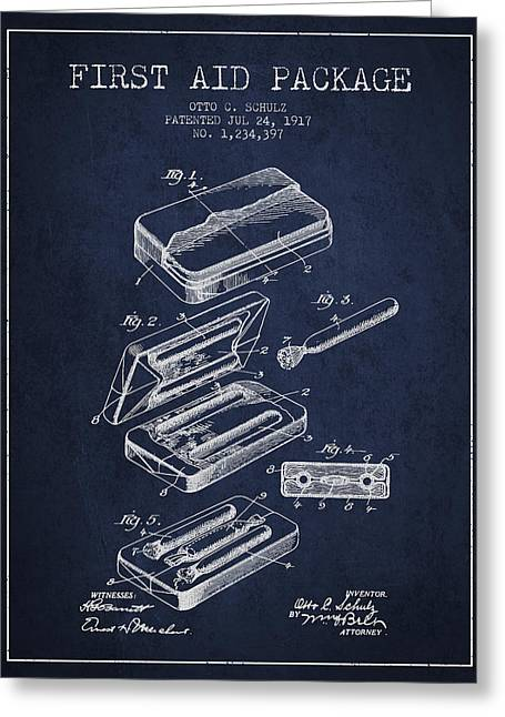First Aid Package Patent From 1917 - Navy Blue Greeting Card