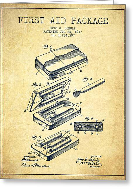 First Aid Package Patent From 1917 - Vintage Greeting Card by Aged Pixel