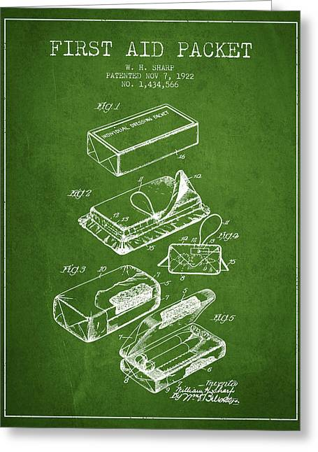 First Aid Packet Patent From 1922 - Green Greeting Card by Aged Pixel
