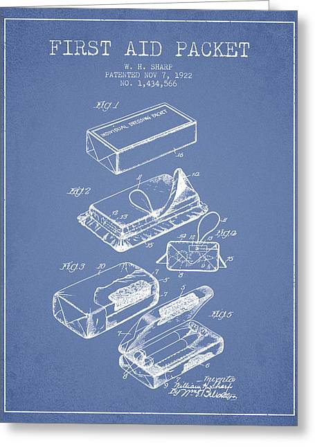 First Aid Packet Patent From 1922 - Light Blue Greeting Card