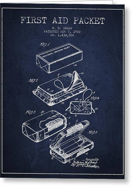 First Aid Packet Patent From 1922 - Navy Blue Greeting Card by Aged Pixel