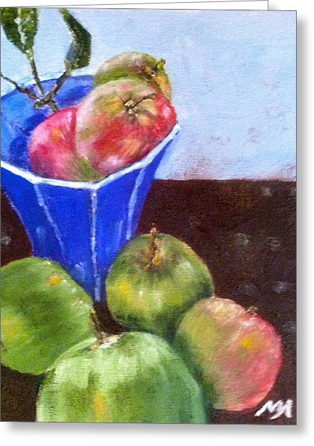 Greeting Card featuring the painting First Apples by MaryAnne Ardito