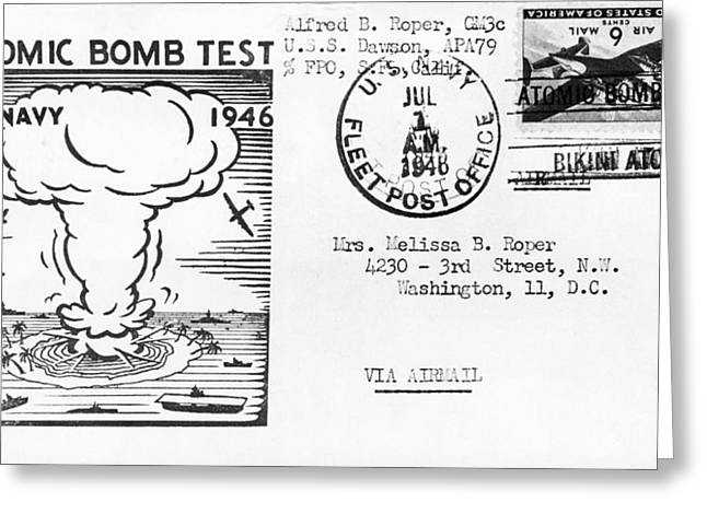 First Atomic Bomb Test Greeting Card by Underwood Archives
