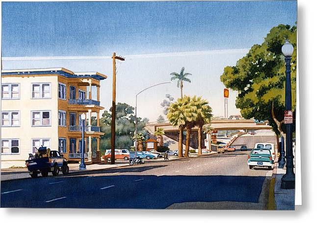 First Avenue In San Diego Greeting Card by Mary Helmreich