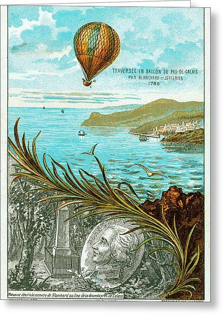 First Balloon Crossing Of English Channel Greeting Card