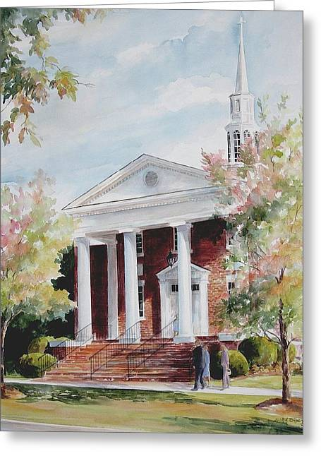 First Baptist Church Sold Greeting Card by Gloria Turner