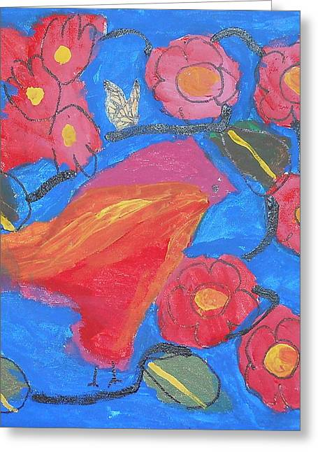 Greeting Card featuring the painting First Bird by Artists With Autism Inc