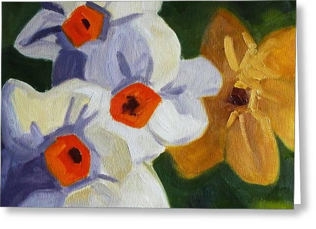First Blooms Greeting Card by Nancy Merkle