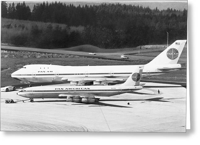 First Boeing 747 Greeting Card by Underwood Archives