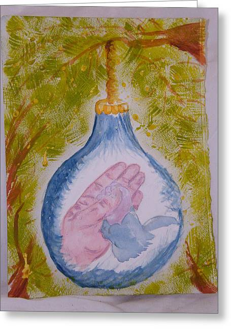 First Christmas Greeting Card by Margaret G Calenda