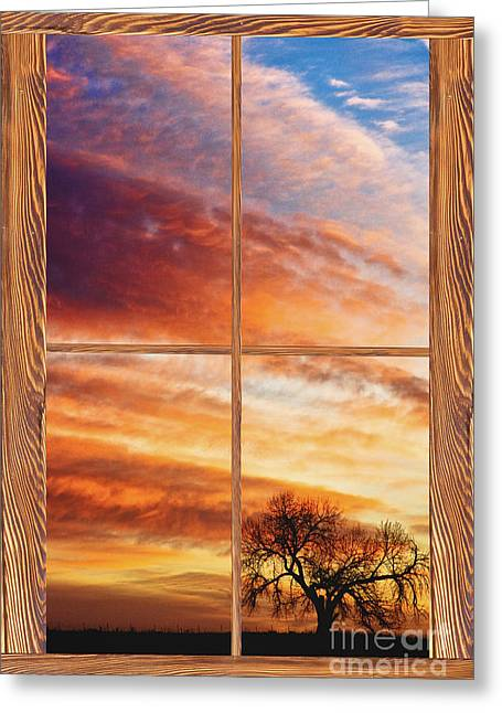First Dawn Barn Wood Picture Window Frame View Greeting Card by James BO  Insogna