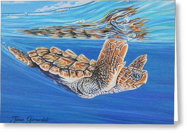 Greeting Card featuring the painting First Dive by Jane Girardot