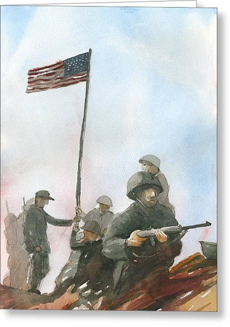 First Flag Over Iwo Jima Greeting Card