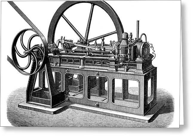 First Gas Engine Greeting Card