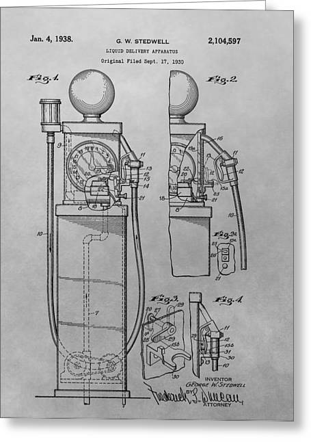 First Gas Pump Patent Drawing Greeting Card by Dan Sproul