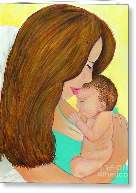 First Kiss- Mother And Newborn Baby Greeting Card by Shelia Kempf