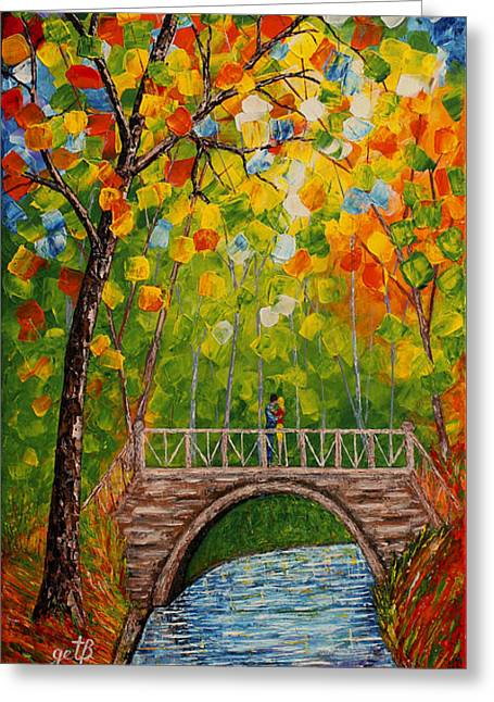 Greeting Card featuring the painting First Kiss On The Bridge Original Acrylic Palette Knife Painting by Georgeta Blanaru