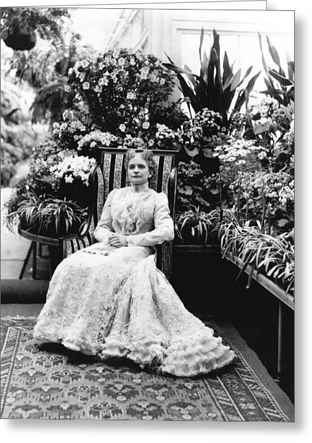 First Lady Ida Mckinley Greeting Card by Underwood Archives