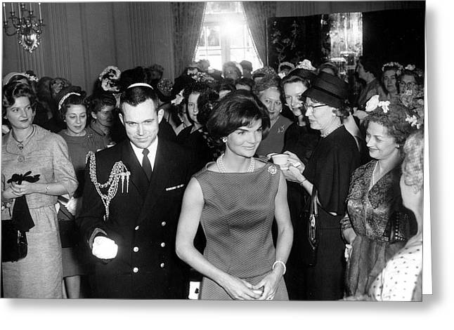 First Lady Jacqueline Kennedy Greets Greeting Card by Stocktrek Images