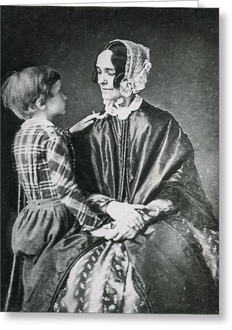 First Lady Jane Pierce With Son Benjamin Greeting Card by Science Source
