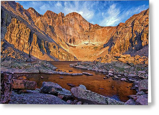 First Light At Chasm Lake Greeting Card by Brian Kerls
