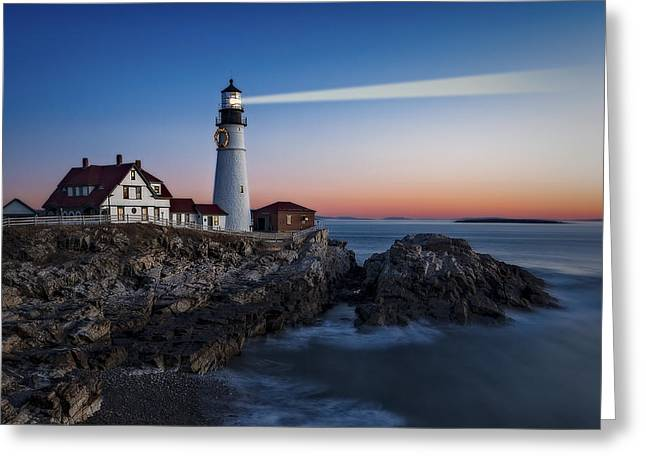 First Light At Portland Head Light Greeting Card by Susan Candelario