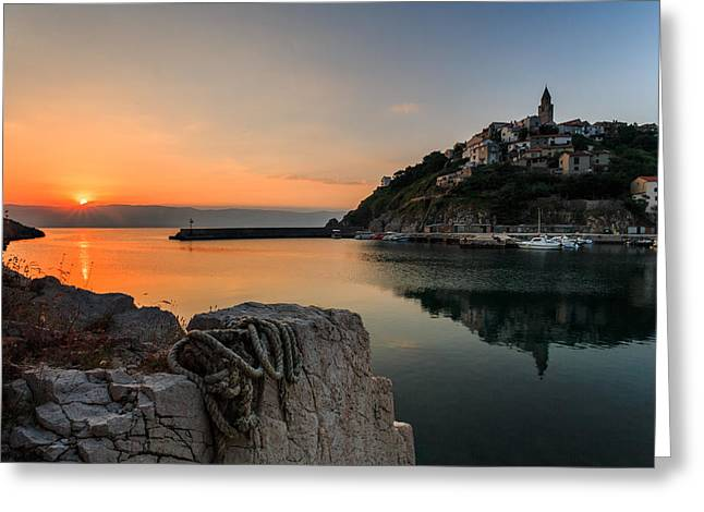 First Light Greeting Card by Davorin Mance