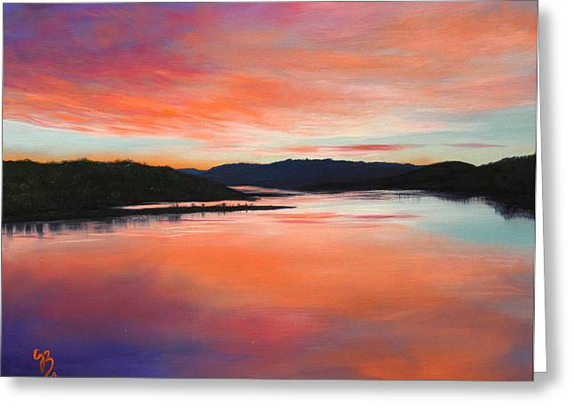 Greeting Card featuring the painting Arkansas River Sunrise by Glenn Beasley