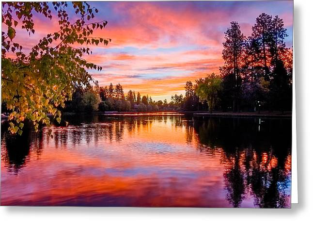 First Light On Mirror Pond Greeting Card by John Williams