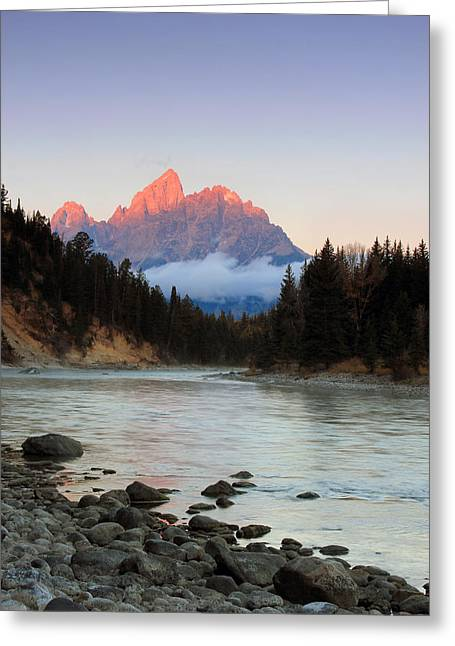 First Light On The Grand Teton Greeting Card