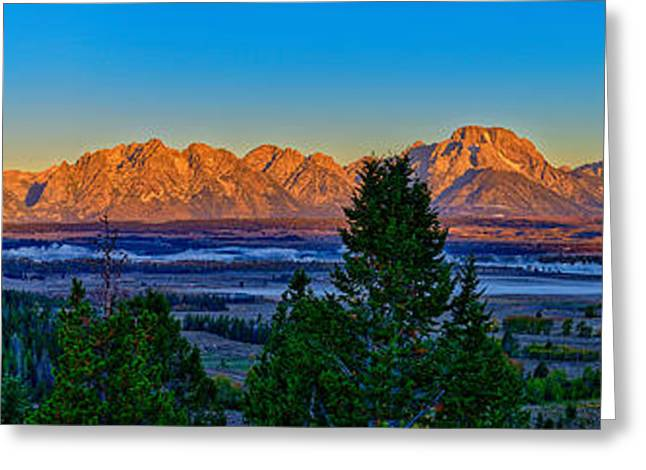 First Light On The Tetons Greeting Card by Greg Norrell
