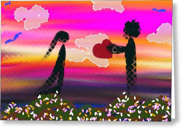 First Love Greeting Card by Lady Ex