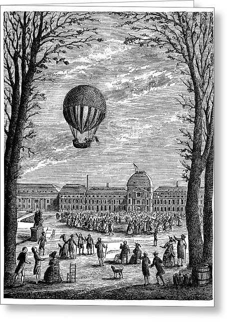 First Manned Hydrogen Balloon Greeting Card by Science Photo Library