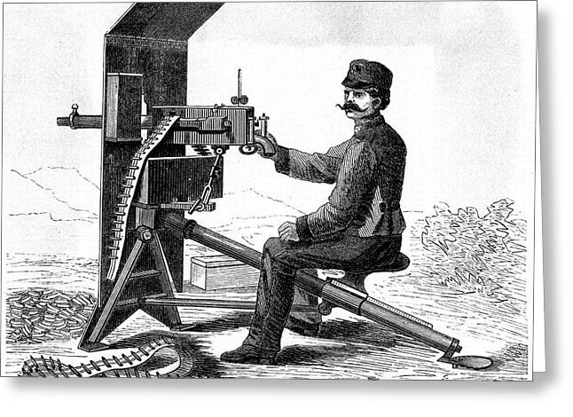 First Model Of Hiram Maxim's Machine Gun Greeting Card by Universal History Archive/uig