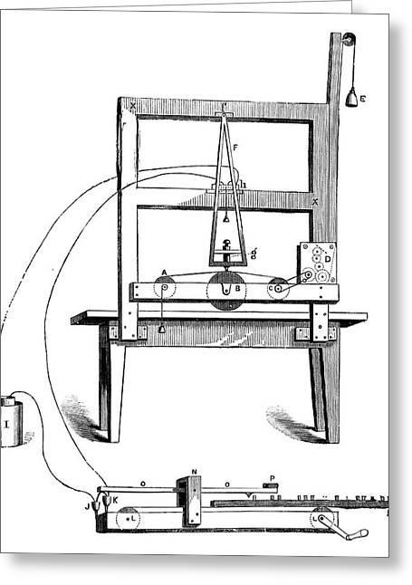 First Morse Telegraph Greeting Card by Science Photo Library