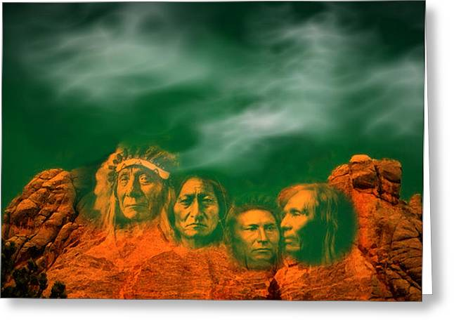 First Nations Chiefs In Mount Rushmore Greeting Card