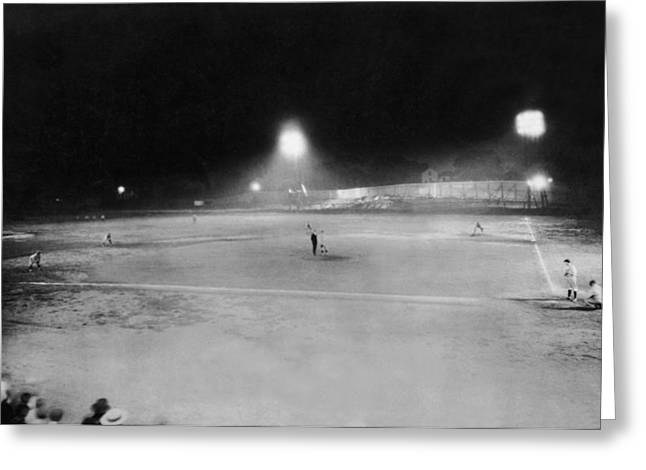 First Night Baseballl Game Greeting Card by Underwood Archives