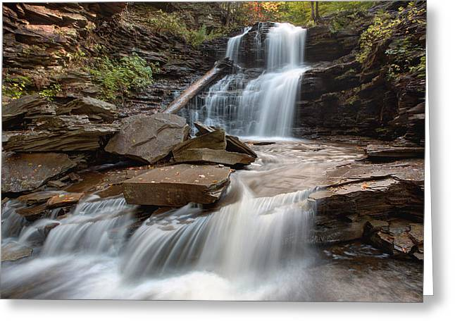 First October Morning Light On Shawnee Falls Greeting Card