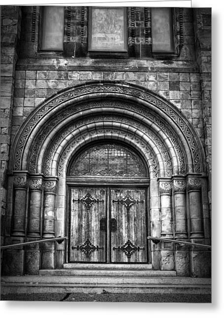 First Parish Church Of Plymouth Door Greeting Card by Joan Carroll
