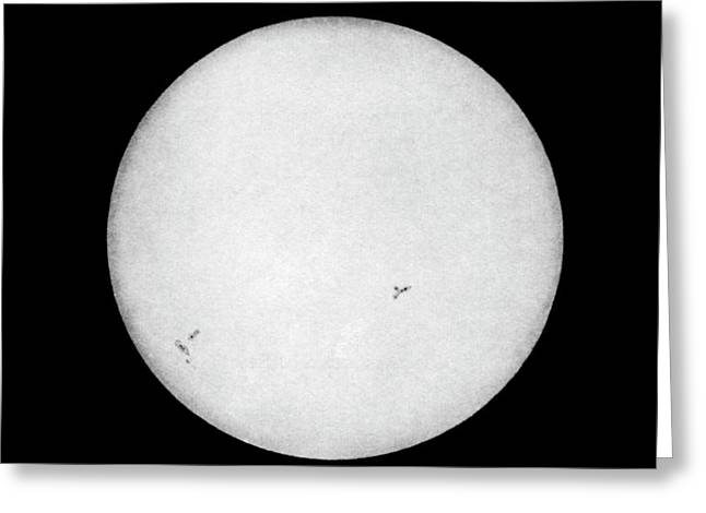 First Photograph Of The Sun Greeting Card by Royal Astronomical Society