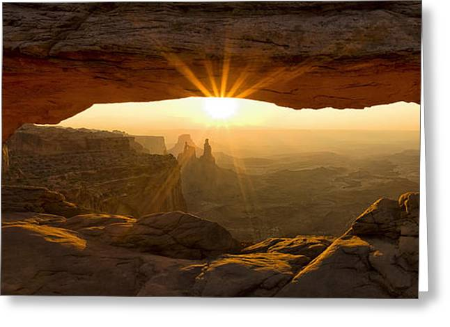 First Rays At Mesa Arch Greeting Card by Andrew Soundarajan