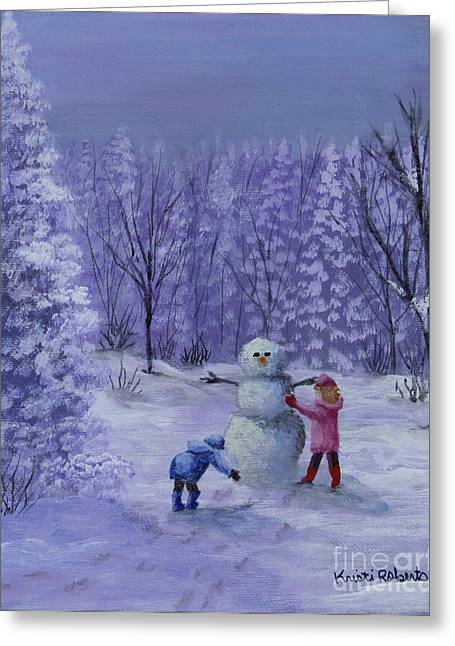 Greeting Card featuring the painting First Snow by Kristi Roberts