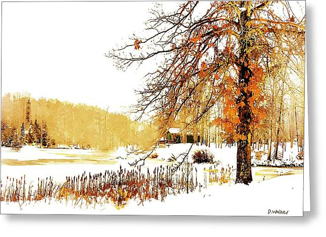 First Snow Last Leaves Greeting Card by Dorothy Walker