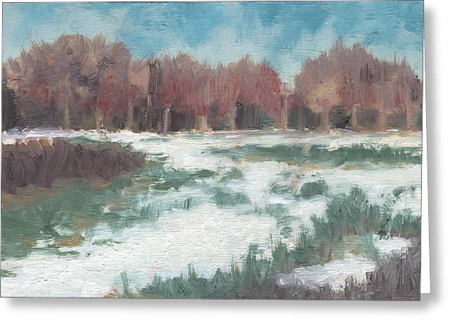 First Snow Greeting Card by Marco Sivieri