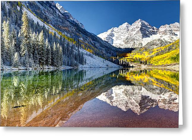 First Snow Maroon Bells Greeting Card