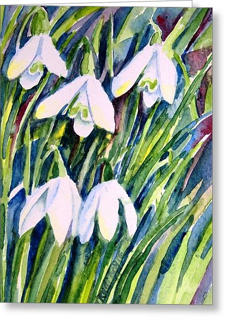 First Snowdrops Of Winter  Greeting Card by Trudi Doyle