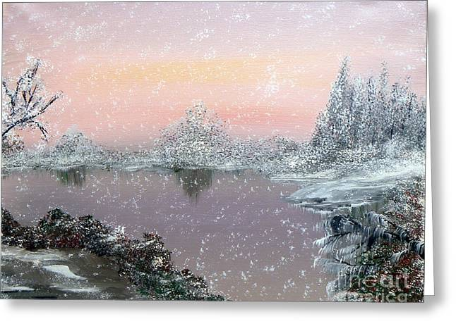 First Snowfall Greeting Card by Alys Caviness-Gober