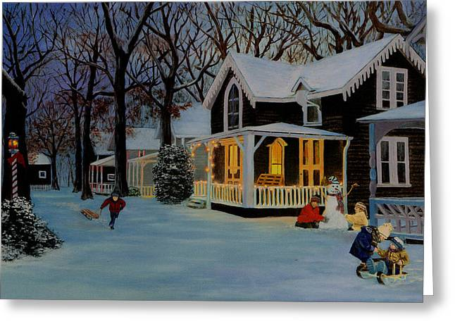 First Snowfall Greeting Card by Rick Fitzsimons