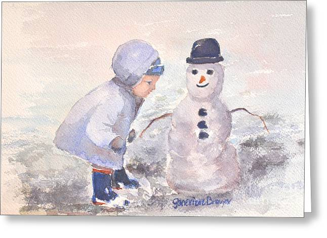 First Snowman Greeting Card by Genevieve Brown