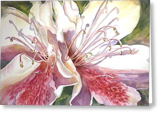 Greeting Card featuring the painting First Thoughts Of Spring by Roxanne Tobaison